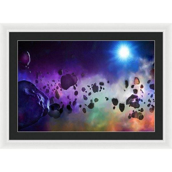 Asteroids Point Of View - Framed Print - 30.000 x 20.000 / White / Black - Framed Print