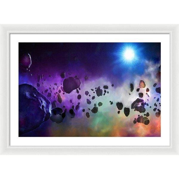 Asteroids Point Of View - Framed Print - 30.000 x 20.000 / White / White - Framed Print
