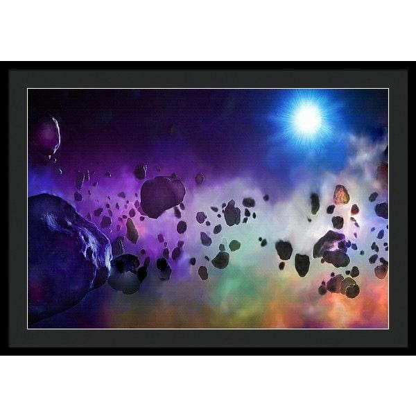 Asteroids Point Of View - Framed Print - 36.000 x 24.000 / Black / Black - Framed Print