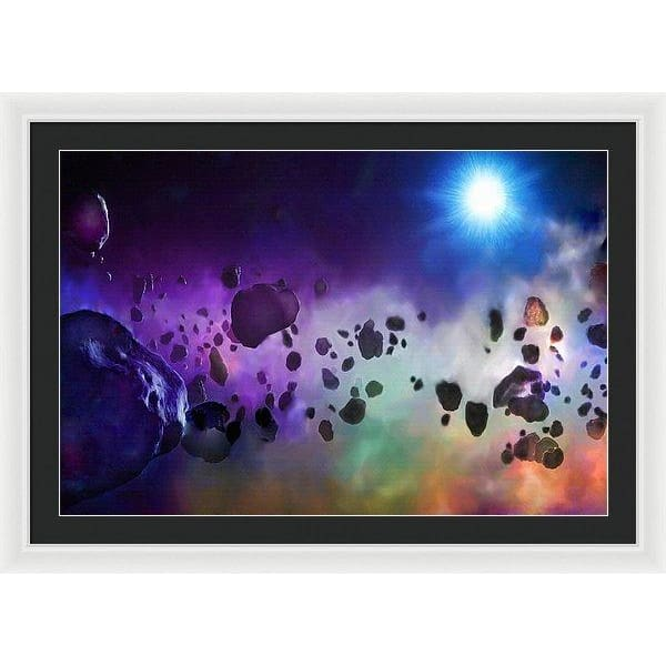 Asteroids Point Of View - Framed Print - 36.000 x 24.000 / White / Black - Framed Print