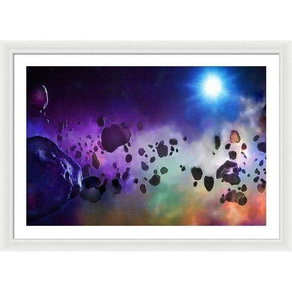 Asteroids Point Of View - Framed Print - 36.000 x 24.000 / White / White - Framed Print