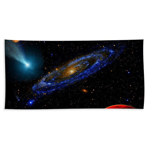 Blue Galaxy - Beach Towel - Beach Sheet (37 x 74) - Beach Towel