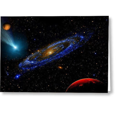 Blue Galaxy - Greeting Card - Single Card - Greeting Card