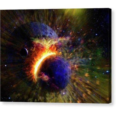 Collision Of Planets - Canvas Print - 8.000 x 6.000 / Mirrored / Glossy - Canvas Print