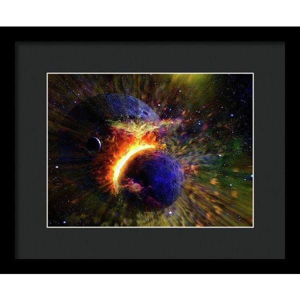Collision Of Planets - Framed Print - 12.000 x 9.000 / Black / Black - Framed Print