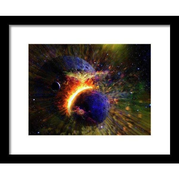 Collision Of Planets - Framed Print - 12.000 x 9.000 / Black / White - Framed Print