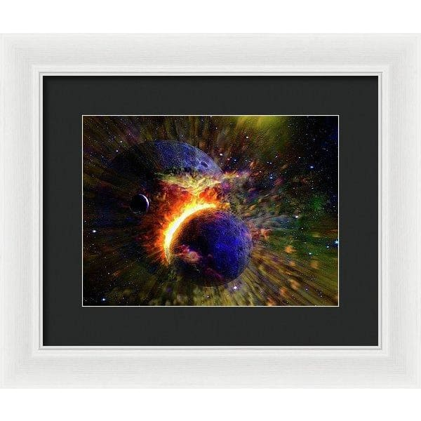 Collision Of Planets - Framed Print - 12.000 x 9.000 / White / Black - Framed Print