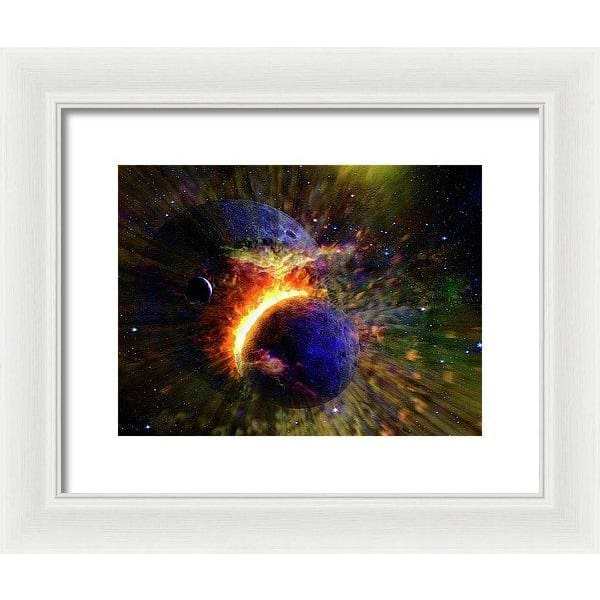 Collision Of Planets - Framed Print - 12.000 x 9.000 / White / White - Framed Print