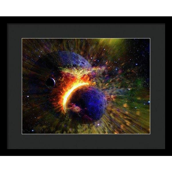 Collision Of Planets - Framed Print - 16.000 x 12.000 / Black / Black - Framed Print