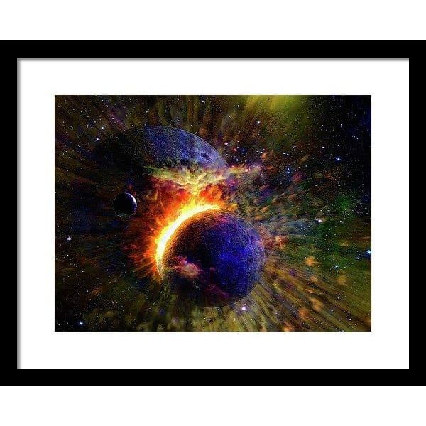 Collision Of Planets - Framed Print - 16.000 x 12.000 / Black / White - Framed Print