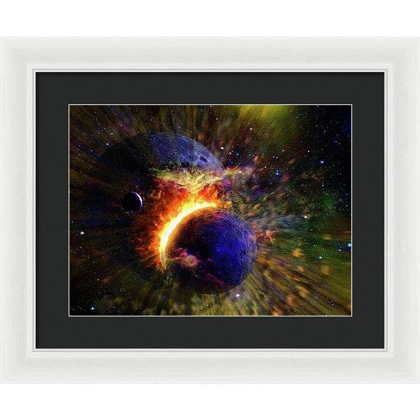 Collision Of Planets - Framed Print - 16.000 x 12.000 / White / Black - Framed Print