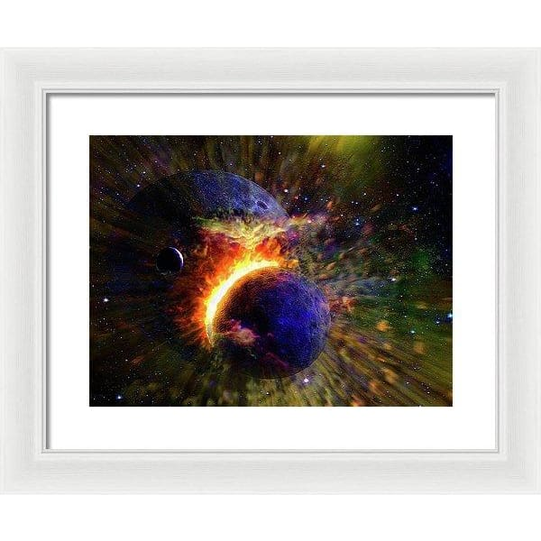 Collision Of Planets - Framed Print - 16.000 x 12.000 / White / White - Framed Print