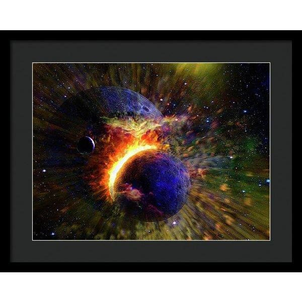 Collision Of Planets - Framed Print - 20.000 x 15.000 / Black / Black - Framed Print