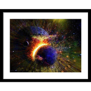 Collision Of Planets - Framed Print - 20.000 x 15.000 / Black / White - Framed Print