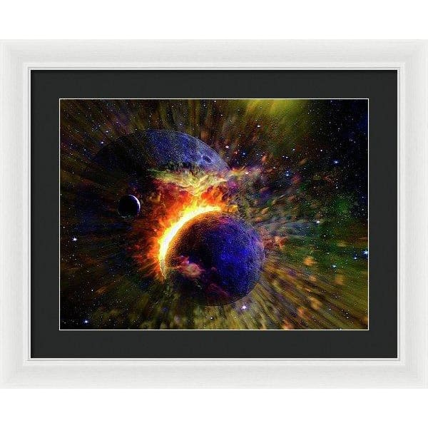 Collision Of Planets - Framed Print - 20.000 x 15.000 / White / Black - Framed Print