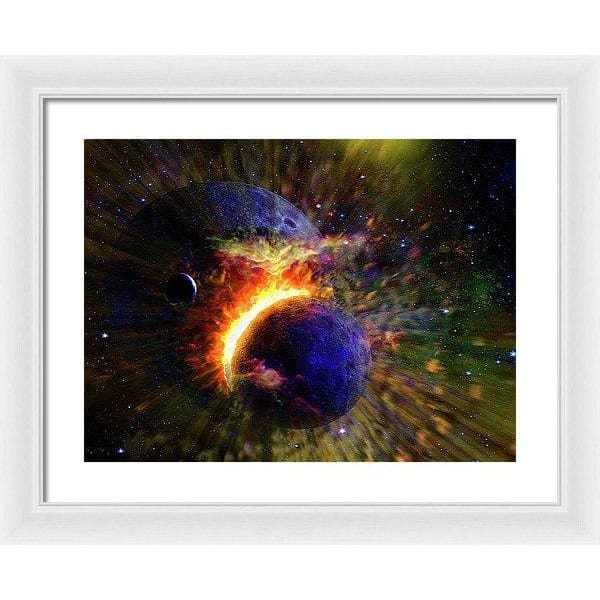 Collision Of Planets - Framed Print - 20.000 x 15.000 / White / White - Framed Print