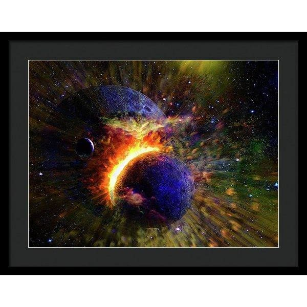 Collision Of Planets - Framed Print - 24.000 x 18.000 / Black / Black - Framed Print