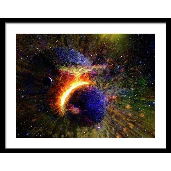 Collision Of Planets - Framed Print - 24.000 x 18.000 / Black / White - Framed Print