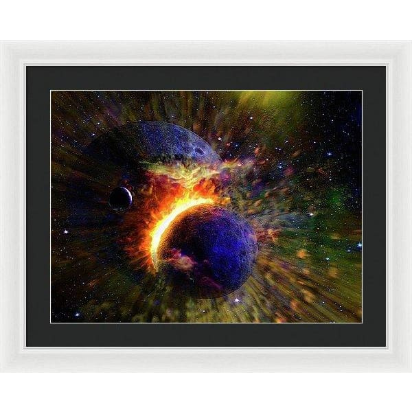 Collision Of Planets - Framed Print - 24.000 x 18.000 / White / Black - Framed Print