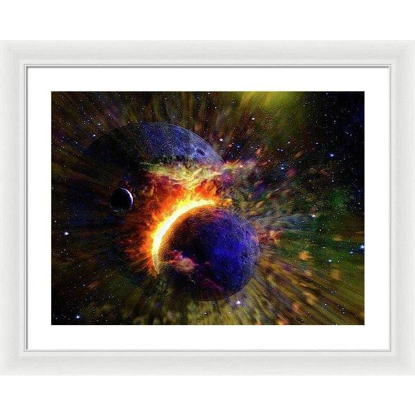 Collision Of Planets - Framed Print - 24.000 x 18.000 / White / White - Framed Print