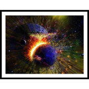 Collision Of Planets - Framed Print - 40.000 x 30.000 / Black / White - Framed Print