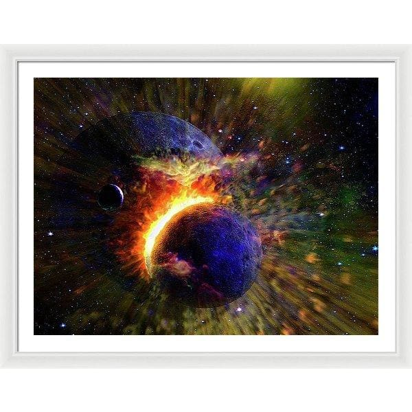 Collision Of Planets - Framed Print - 40.000 x 30.000 / White / White - Framed Print