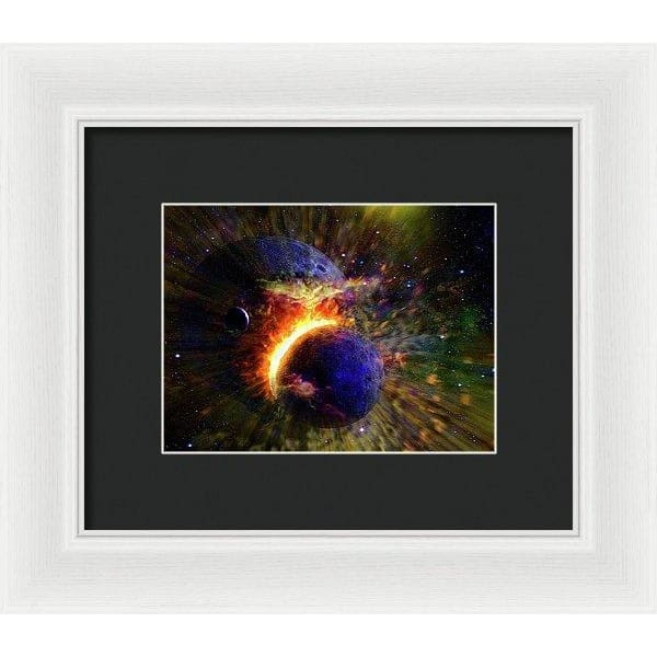Collision Of Planets - Framed Print - 8.000 x 6.000 / White / Black - Framed Print