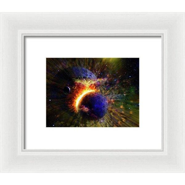 Collision Of Planets - Framed Print - 8.000 x 6.000 / White / White - Framed Print