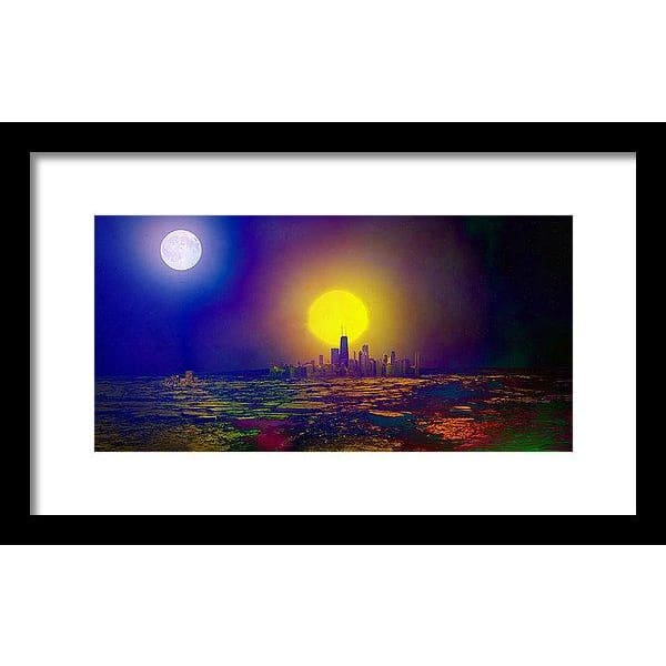 Deserted City - Framed Print - 14.000 x 7.000 / Black / White - Framed Print