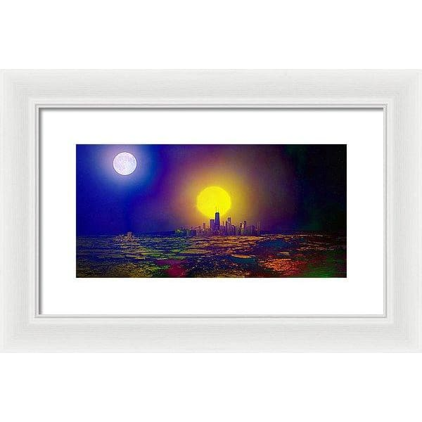 Deserted City - Framed Print - 14.000 x 7.000 / White / White - Framed Print
