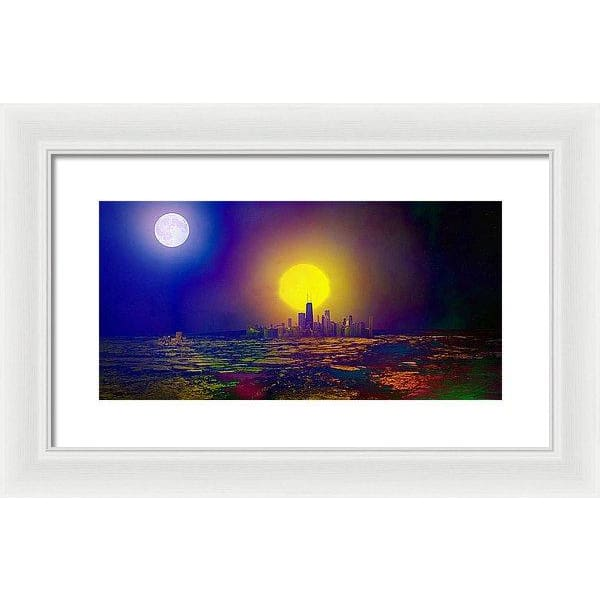 Deserted City - Framed Print - 16.000 x 8.000 / White / White - Framed Print