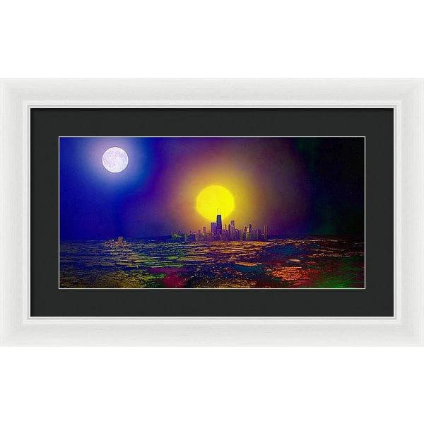 Deserted City - Framed Print - 20.000 x 10.000 / White / Black - Framed Print