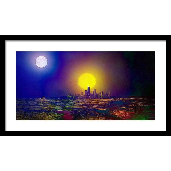 Deserted City - Framed Print - 24.000 x 12.000 / Black / White - Framed Print