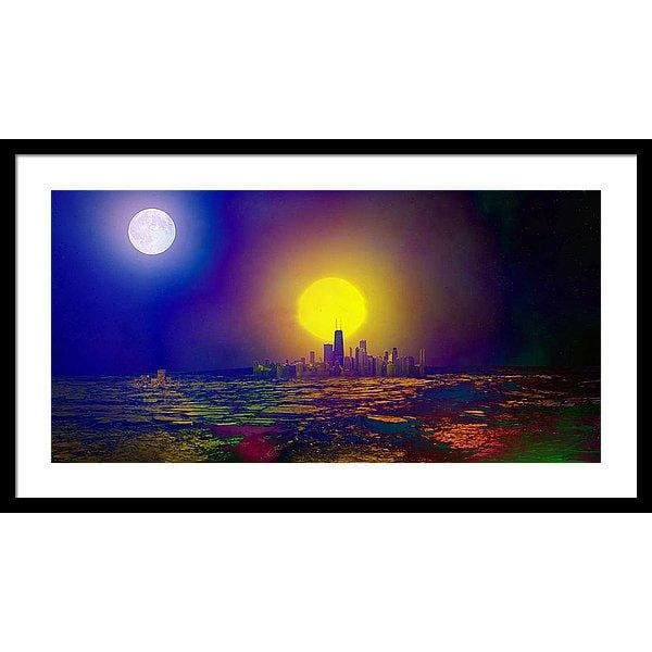 Deserted City - Framed Print - 30.000 x 15.000 / Black / White - Framed Print