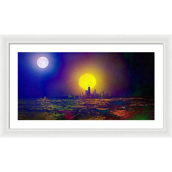 Deserted City - Framed Print - 30.000 x 15.000 / White / White - Framed Print