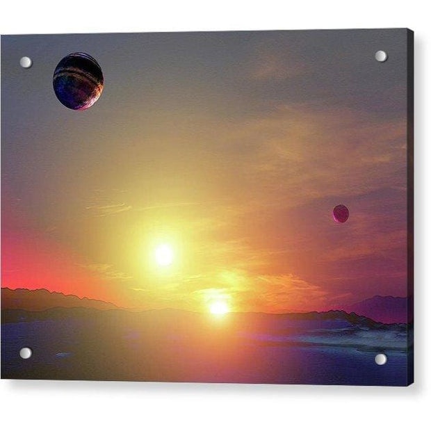 Double Sun Planet And Moons - Acrylic Print - 8.000 x 6.000 / Aluminum Mounting Posts - Acrylic Print