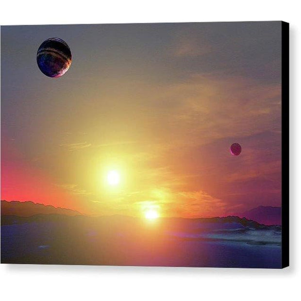 Double Sun Planet And Moons - Canvas Print - 8.000 x 6.000 / Black / Glossy - Canvas Print
