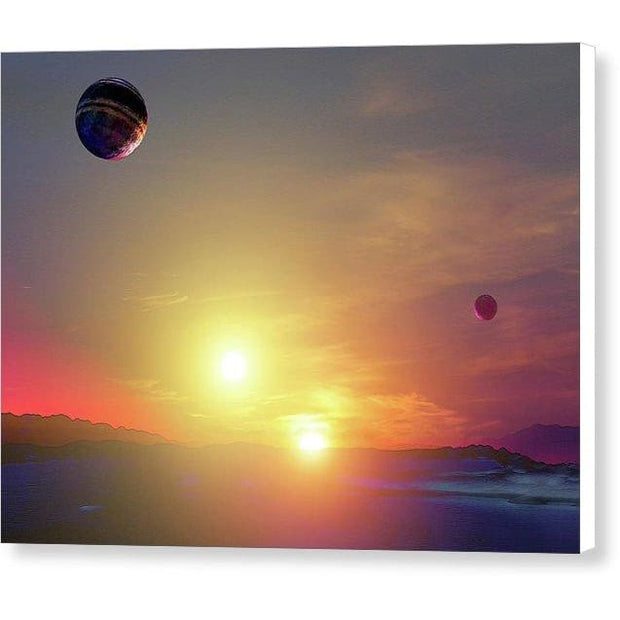 Double Sun Planet And Moons - Canvas Print - 8.000 x 6.000 / White / Glossy - Canvas Print
