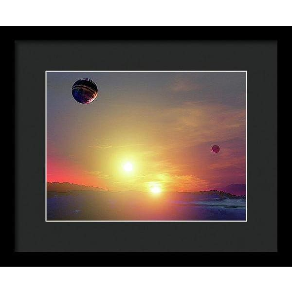 Double Sun Planet And Moons - Framed Print - 12.000 x 9.000 / Black / Black - Framed Print