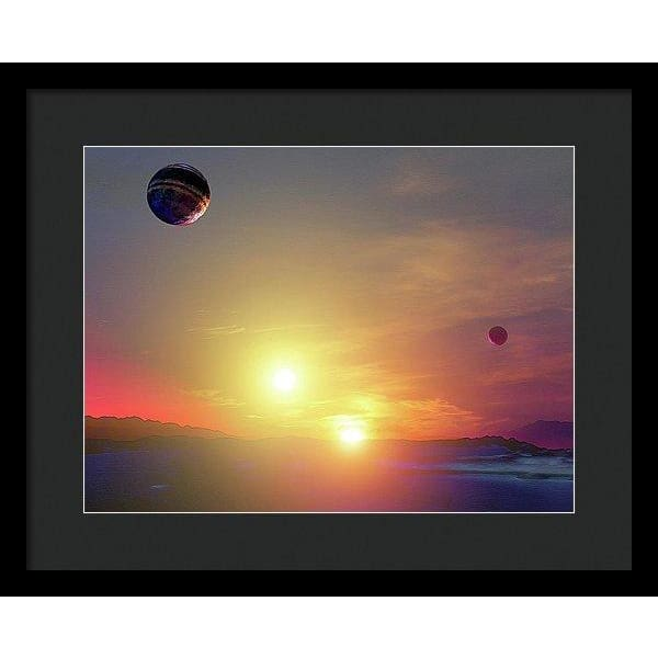 Double Sun Planet And Moons - Framed Print - 16.000 x 12.000 / Black / Black - Framed Print
