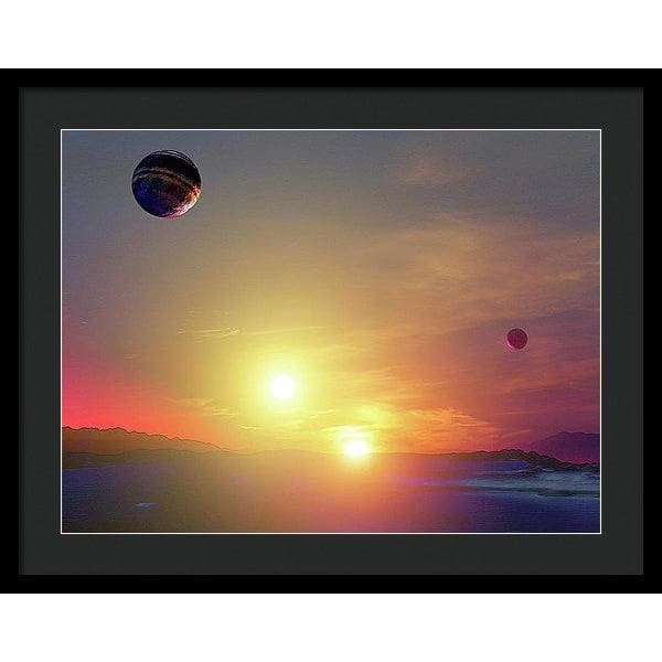 Double Sun Planet And Moons - Framed Print - 24.000 x 18.000 / Black / Black - Framed Print