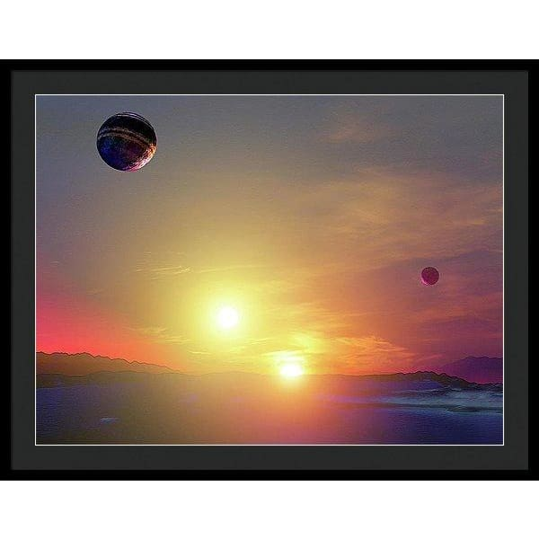 Double Sun Planet And Moons - Framed Print - 36.000 x 27.000 / Black / Black - Framed Print