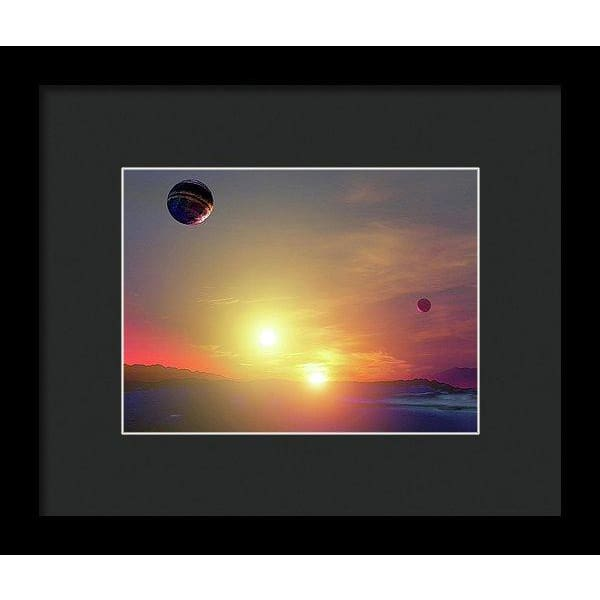 Double Sun Planet And Moons - Framed Print - 8.000 x 6.000 / Black / Black - Framed Print