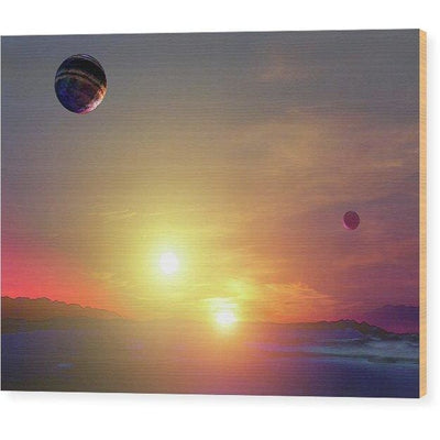 Double Sun Planet And Moons - Wood Print - 8.000 x 6.000 - Wood Print