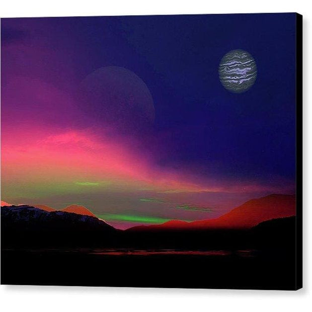 Exoplanet Sunset - Artists Concept - Canvas Print - 10.000 x 8.000 / Black / Glossy - Canvas Print