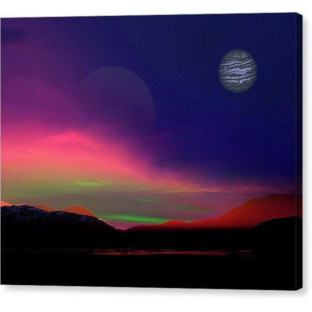 Exoplanet Sunset - Artists Concept - Canvas Print - 10.000 x 8.000 / Mirrored / Glossy - Canvas Print