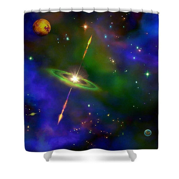 Green Galaxy - Shower Curtain by Don White - Art Dreamer