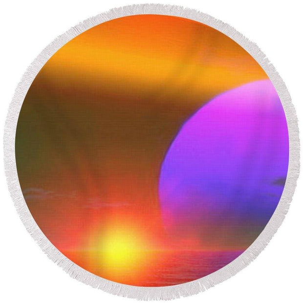 Happy Place - Round Beach Towel by Don White - Art Dreamer