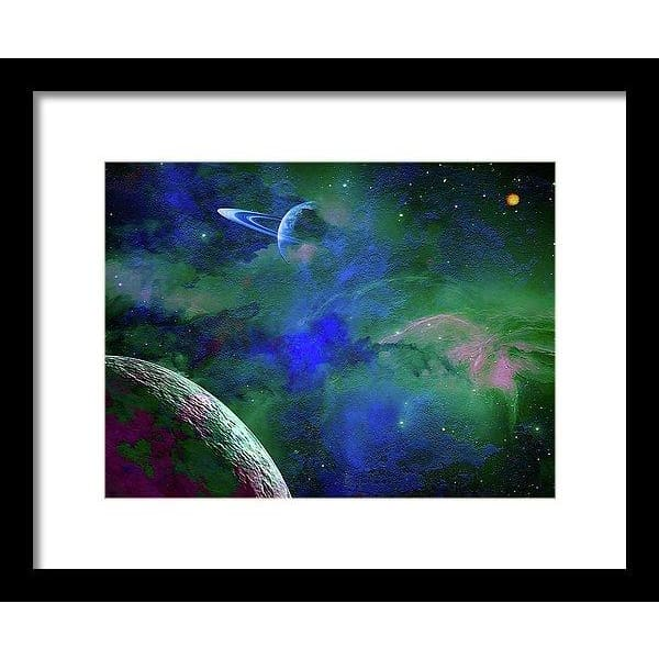 Planet Companion - Framed Print - 12.000 x 9.000 / Black / White - Framed Print