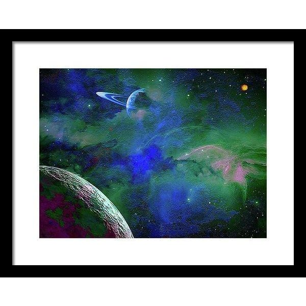 Planet Companion - Framed Print - 16.000 x 12.000 / Black / White - Framed Print